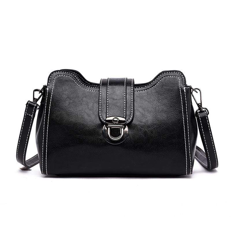 Obangbag Black Women Chic Mini Anti-theft Roomy Multi Pockets Square Leather Crossbody Bag Shoulder Bag