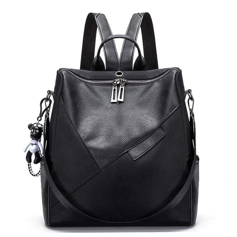 Obangbag Black Women Chic Retro Patchwork Lightweight Roomy Multifunction Nylon Leather Backpack Shoulder Bag