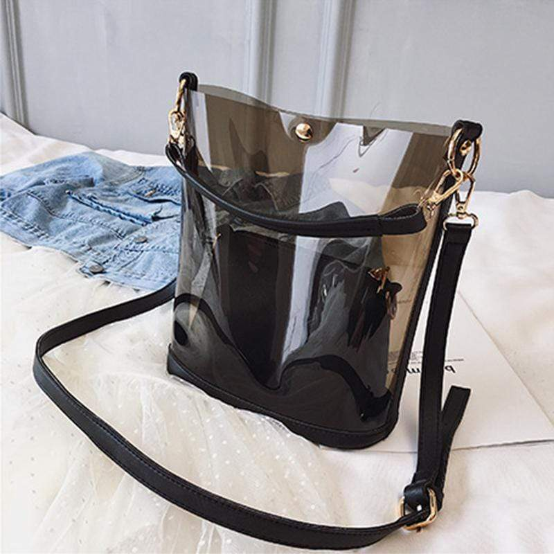 Obangbag Black Women Chic Street Big Large Capacity Transparent Clear PVC Plastic Handbag Shoulder Bag Crossbody Bag