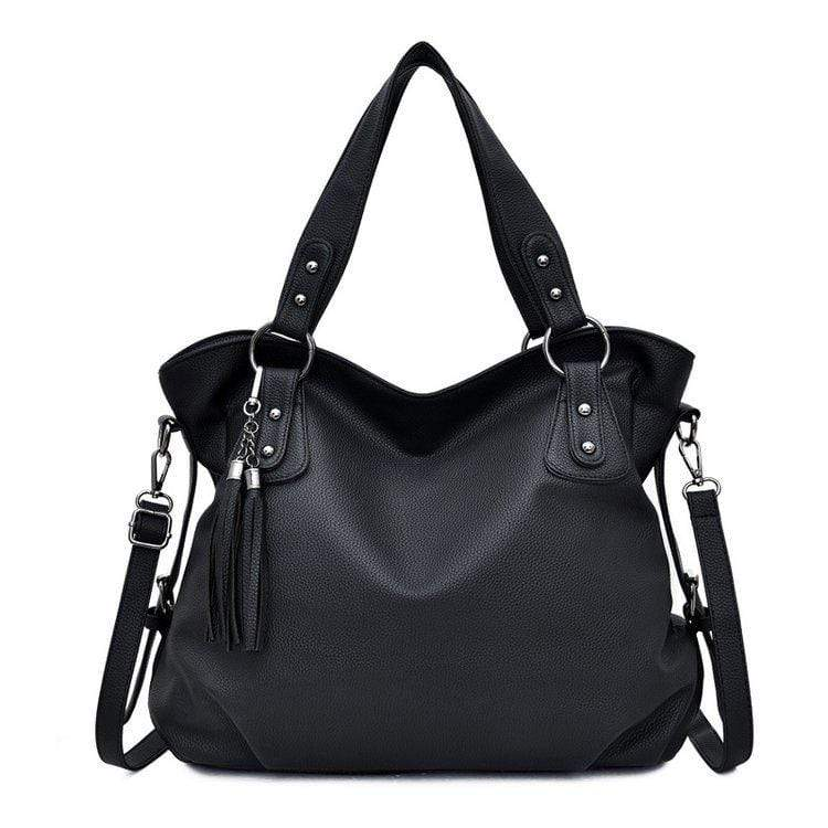 Obangbag Black Women Chic Stylish Big Professional Large Capacity PU Leather Handbag Shoulder Bag Crossbody Bag for Work