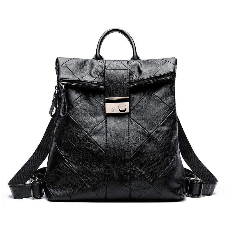 Obangbag Black Women Chic Stylish Large Capacity Patchwork Multifunction Genuine Leather Backpack for Work for Travel