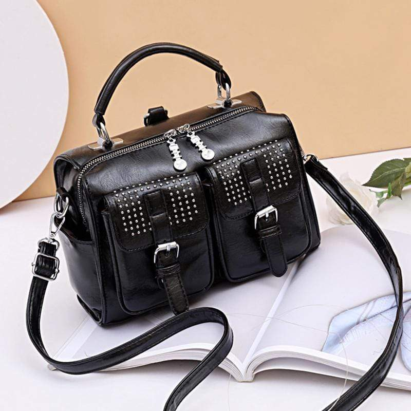 Obangbag Black Women Chic Stylish Multi Pockets Roomy Multifunction Leather Boston Bag Handbag Crossbody Bag Backpack
