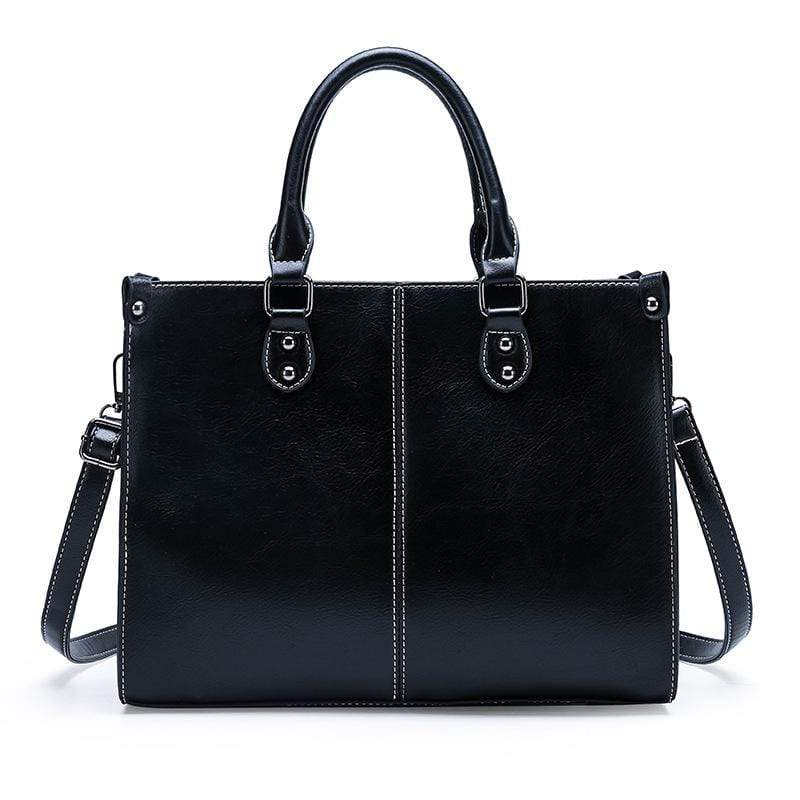 Obangbag Black Women Chic Stylish Professional Large Capacity Multi Pockets Oil Wax Leather Handbag Shoulder Bag Laptop Bag for Work