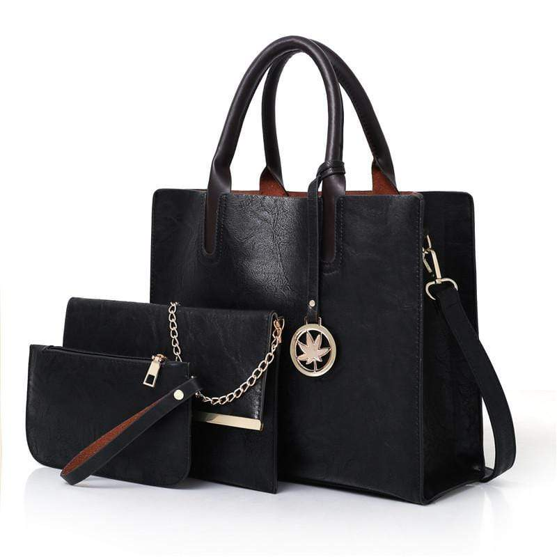 Obangbag Black Women Chic Stylish Professional Roomy Multifunction Bag Set Purse Handbag Crossbody Bag for Work