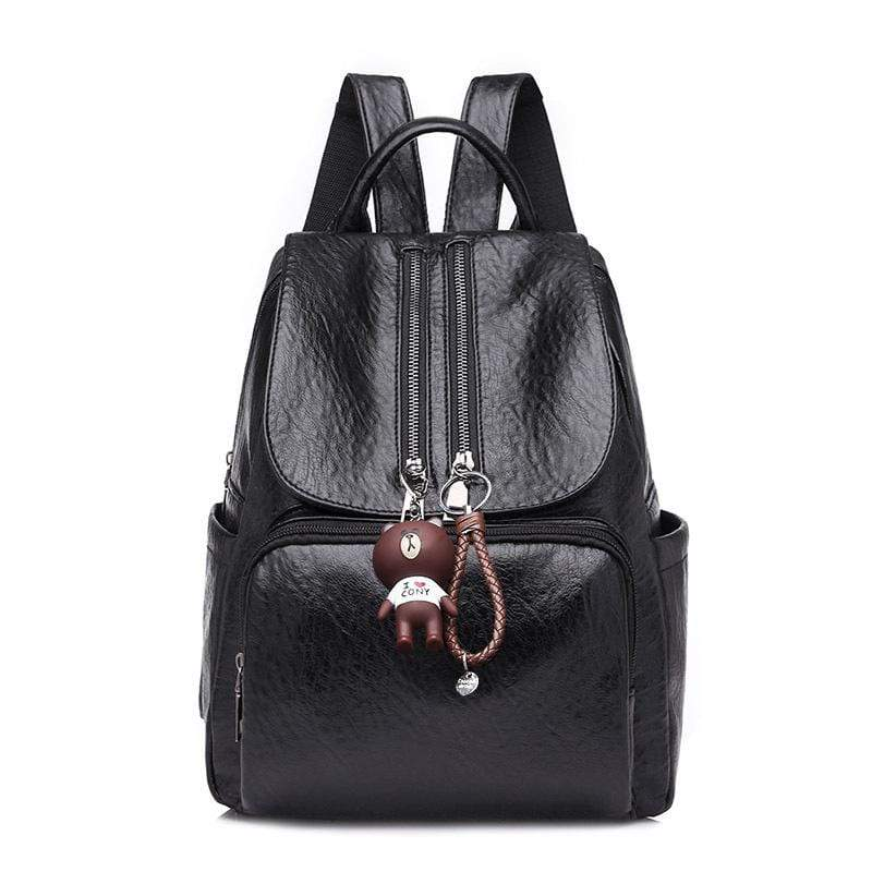 Obangbag Black Women Chic Stylish Roomy Lightweight Waterproof Soft Leather Backpack Bookbag