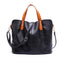 Obangbag Black Women Chic Vintage Large Capacity Multifunction Casual Soft Leather Tote Bag Handbag