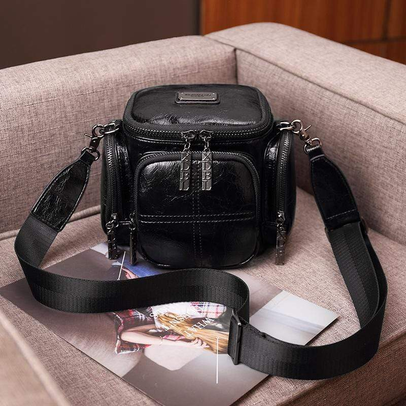 Obangbag Black Women Chic Vintage Multifunction Multi Pockets Square Oil Wax Leather Shoulder Bag Crossbody Bag