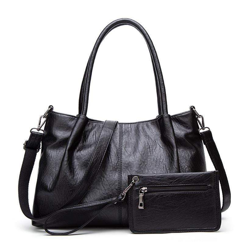 Obangbag Black Women Chic Vintage Multifunction Roomy Anti-theft Leather Tote Bag Bag Set  Purse for Work