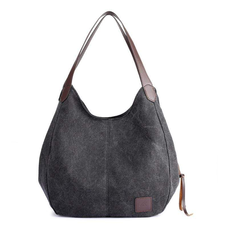 Obangbag Black Women Chic Vintage Roomy Multi Pockets Canvas Handbag Shoulder Bag