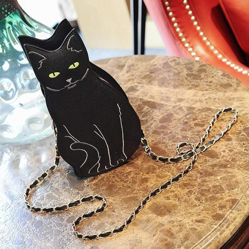 Obangbag Black Women Cute Chic Black Cat Pattern Lightweight Party Leather Chain Bag Crossbody Bag