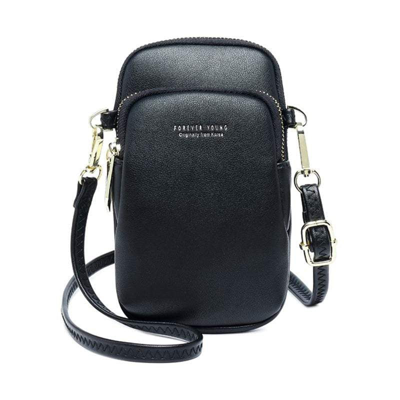 Obangbag Black Women Cute Chic Roomy Lightweight Portable Multifunction Leather Phone Bag Crossbody Bag