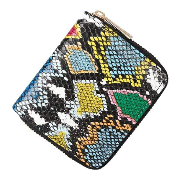 Obangbag Black Women Cute Mini Snake Skin Pattern PU Leather Wallet Clutch Bag