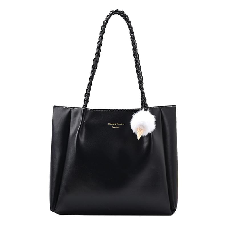 Obangbag Black Women Elegant Simple Large Capacity Professional Woven Leather Tote Bag Shoulder Bag