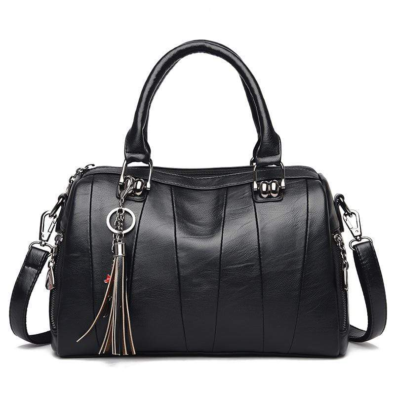 Obangbag Black Women Elegant Simple Roomy Lightweight Leather Boston Bag Handbag Crossbody Bag