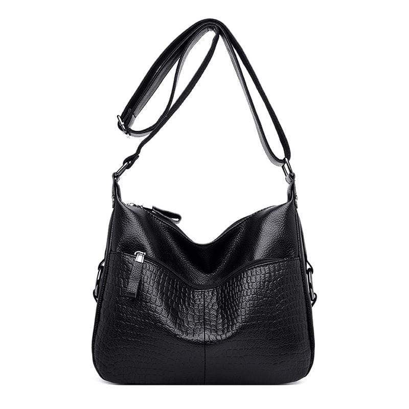 Obangbag Black Women Elegant Stylish Large Capacity Soft Leather Shoulder Bag Crossbody Bag for Work