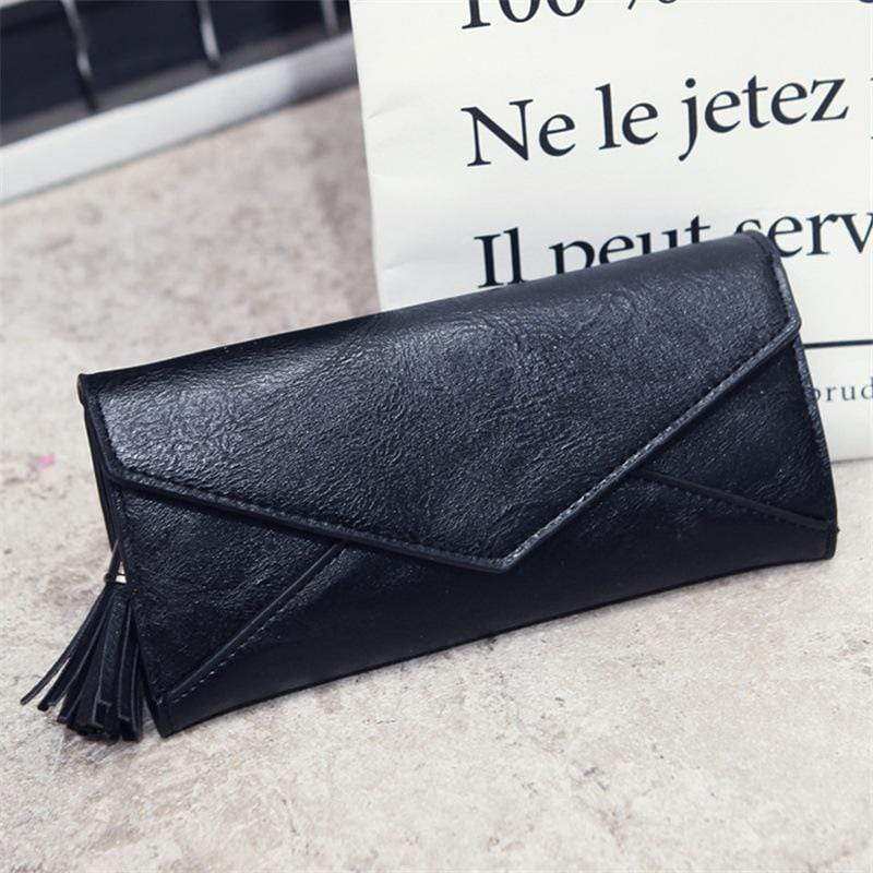 Obangbag Black Women Elegant Vintage Fringed Foldable Lightweight Leather Long Wallet Purse Clutch