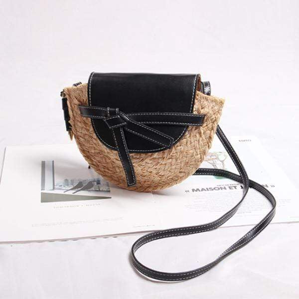 Obangbag Black Women Fashion Handmade Straw Woven Beach Bag Crossbody Bag for Travel