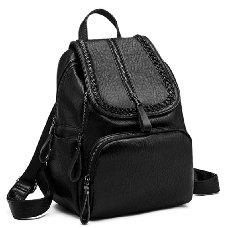 Obangbag Black Women Fashion Large Capacity Roomy Multi Pockets Soft Leather Backpack for School