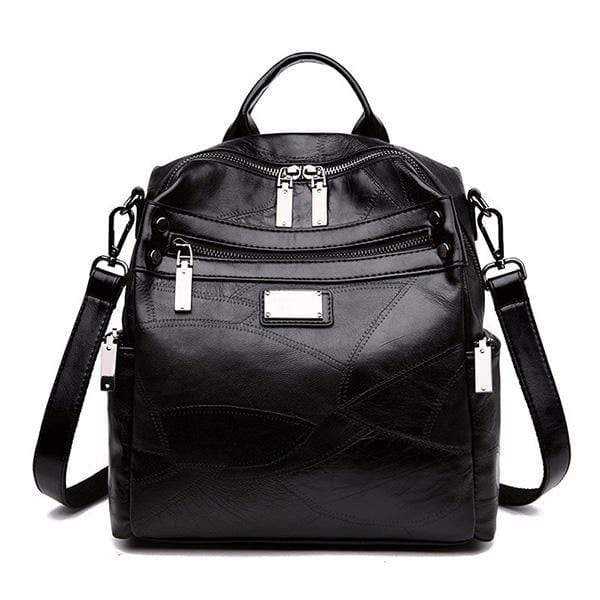 Obangbag black Women Fashion Multi-Carry Soft Leather Work Backpack