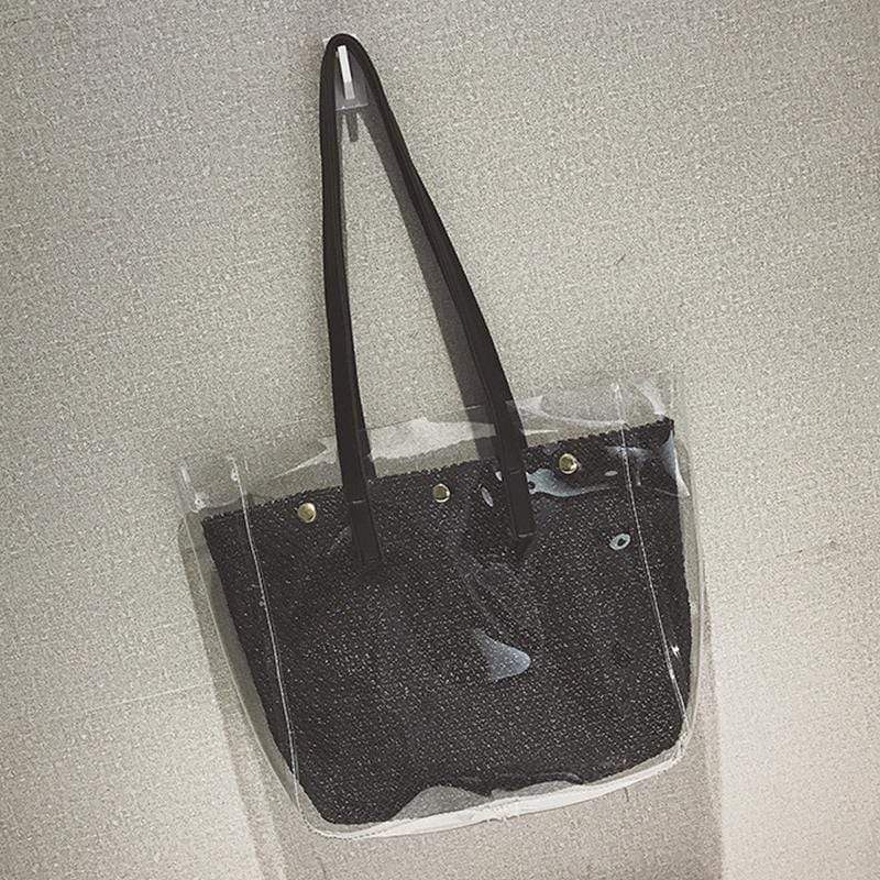 Obangbag Black Women Fashion Roomy Clear Transparent Straw PVC Tote Bag Shoulder Bag for Work