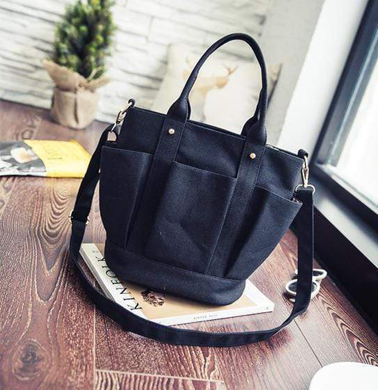 Obangbag Black Women Fashion Vintage Multi Pockets Multifunction Canvas Handbag Crossbody Bag Shoulder Bag