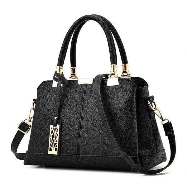 Obangbag Black Women Fashion Work Large Capacity Leather Tote Bag Shoulder Bag