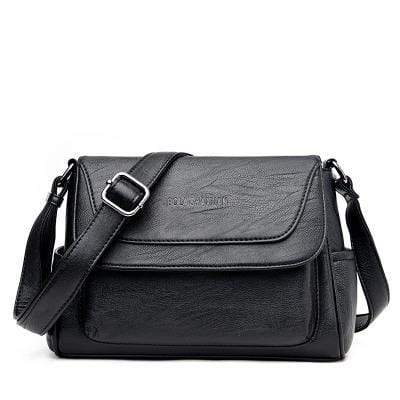 Obangbag Black Women Genuine Leather Soft Shell Female Bag Small Bag Envelope Bag Shoulder Bag
