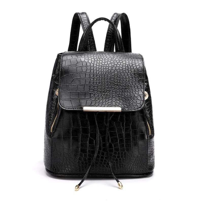 Obangbag Black Women Girls Cute Roomy Crocodile Pattern PU Leather Backpack Bookbag for School