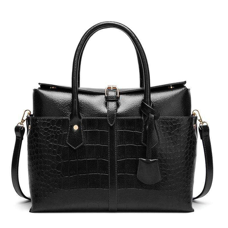 Obangbag Black Women Large Capacity Elegant Crocodile Skin Pattern PU Leather Handbag
