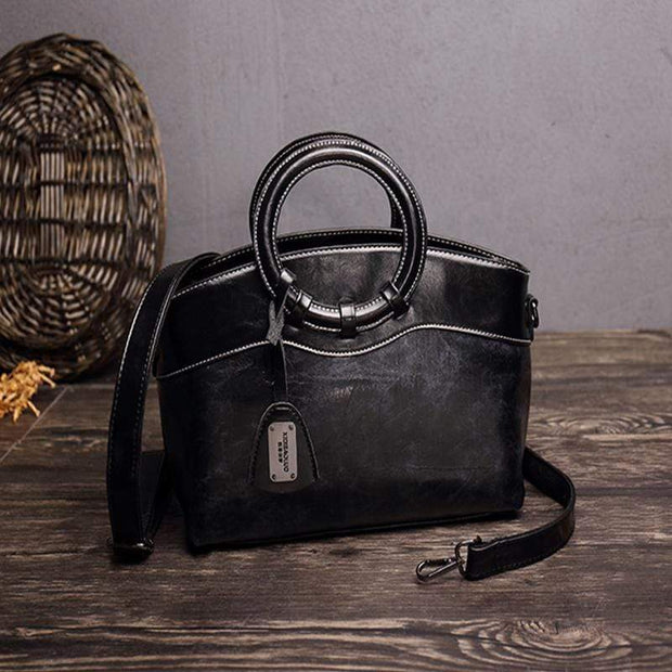 Obangbag Black Women Layered Messenger Bag Retro Vintage Handbag