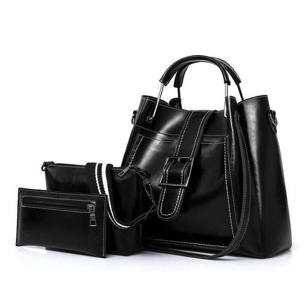 Obangbag Black Women Luxury 3 Pieces Bag Set Retro Oil Wax Leather Purse Handbag