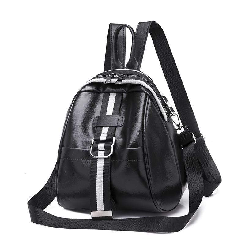 Obangbag Black Women Mini Roomy Stylish Lightweight Double Zipper Multifunction Leather Backpack Shoulder Bag Crossbody Bag