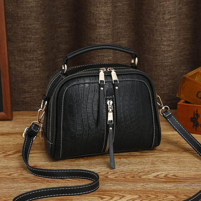 Obangbag Black Women Mini Vintage Daily Lightweight Roomy Leather Crossbody Bag Handbag Shoulder Bag