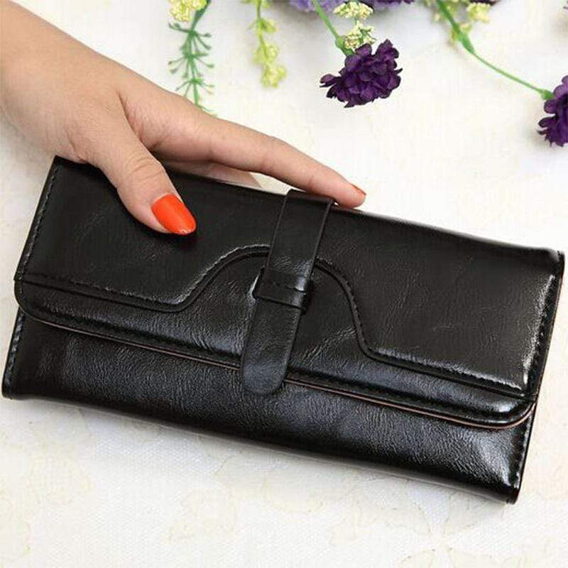 Obangbag Black Women Retro Chic Multi Pockets Lightweight Leather Clutch Purse Long Wallet