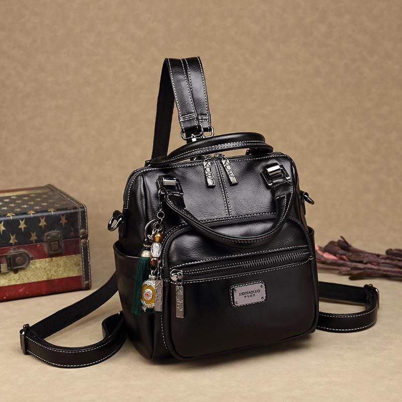 Obangbag Black Women Retro Chic Multi Pockets Multifunction Roomy Double Zipper Oil Wax Leather Backpack Handbag