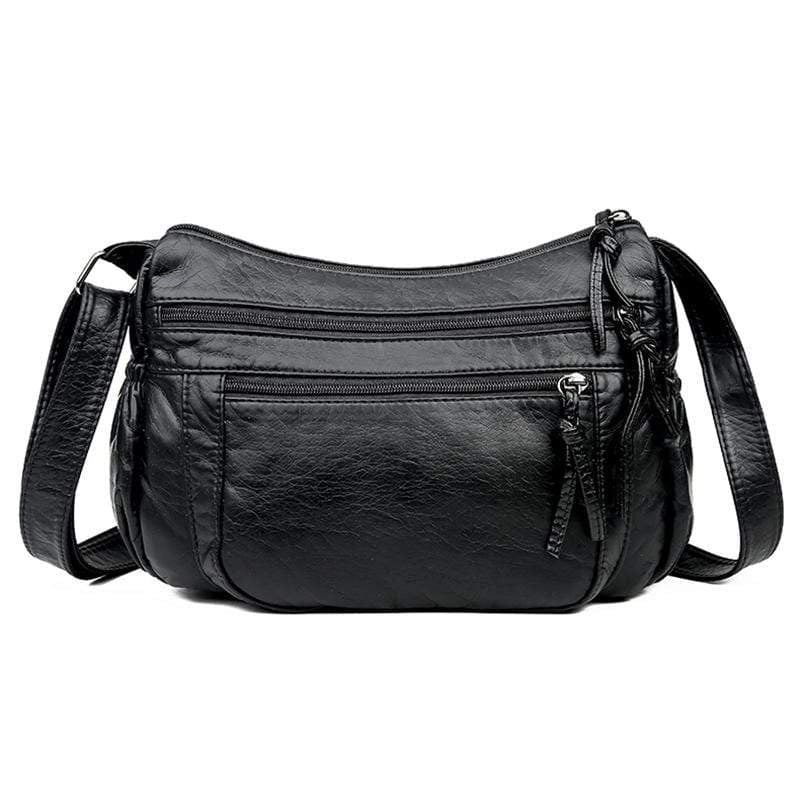 Obangbag Black Women Retro Daily Vintage Multi Pockets Roomy Soft Leather Shoulder Bag Crossbody Bag for Work