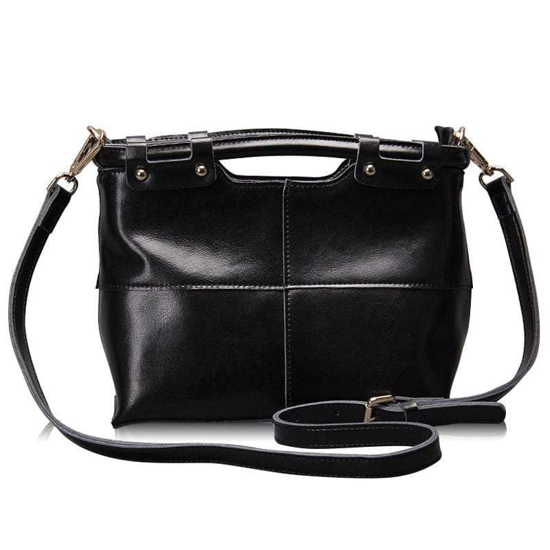 Obangbag Black Women Retro Large Capacity Daily Professional Genuine Leather Handbag Crossbody Bag for Work