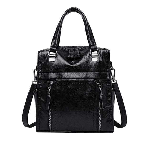 Obangbag Black Women retro large capacity multi-pocket multi-function backpack messenger shoulder bag