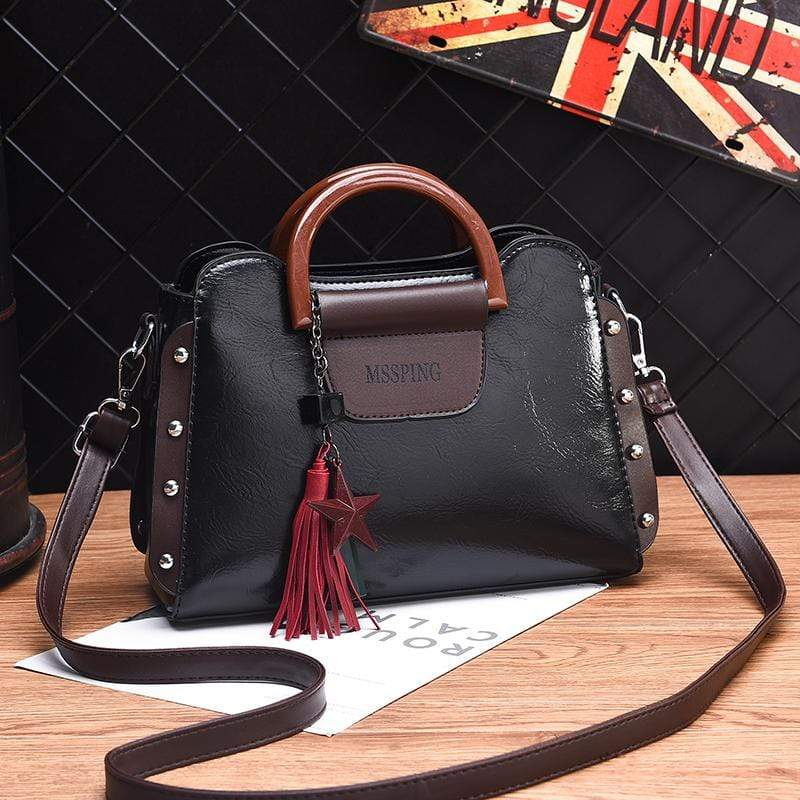 Obangbag Black Women Retro Stylish Tassel Leather Handbag Crossbody Bag