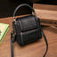 Obangbag Black Women Retro Vinage Multi Pockets Small Square Leather Bag Phone Bag Mini Crossbody Bag