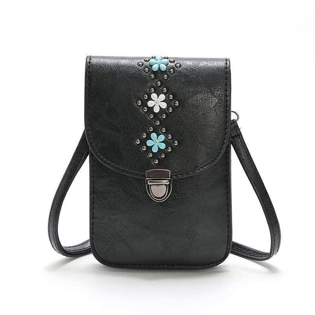 Obangbag Black Women Retro Vintage Flower Rivet Leather Phone Bag Purse