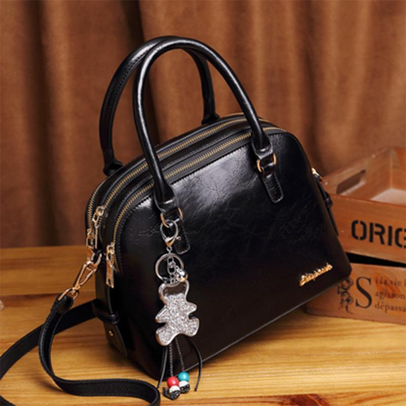 Obangbag Black Women Retro Vintage Leather Handbag Multi Pockets Shoulder Bag