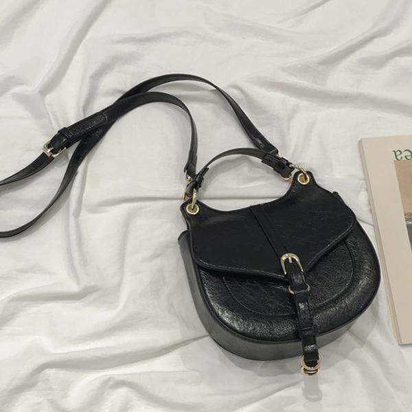 Obangbag Black Women Retro Vintage Mini Leather Round Shoulder Bag Crossbag Handbag
