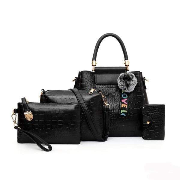 Obangbag Black Women Retro Vintage Multi Pockets Crocodile Leather 4In1 Shouder Bag Crossbody Bag Purse Handbag