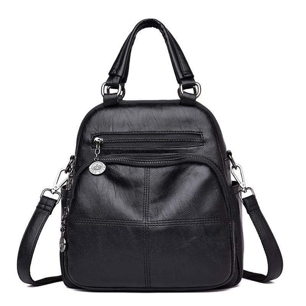 obangbag Black Women's Multi Function Leather Backpack Shoulder Bag Fashion Handbag