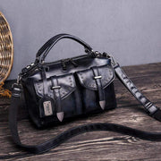 Obangbag Black Women's Retro Vintage Leather Multi-Pocket Large Capacity Handbag Messenger Bag