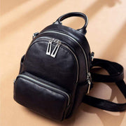 Obangbag Black Women's Vintage Crystal Multi Function Leather Backpack