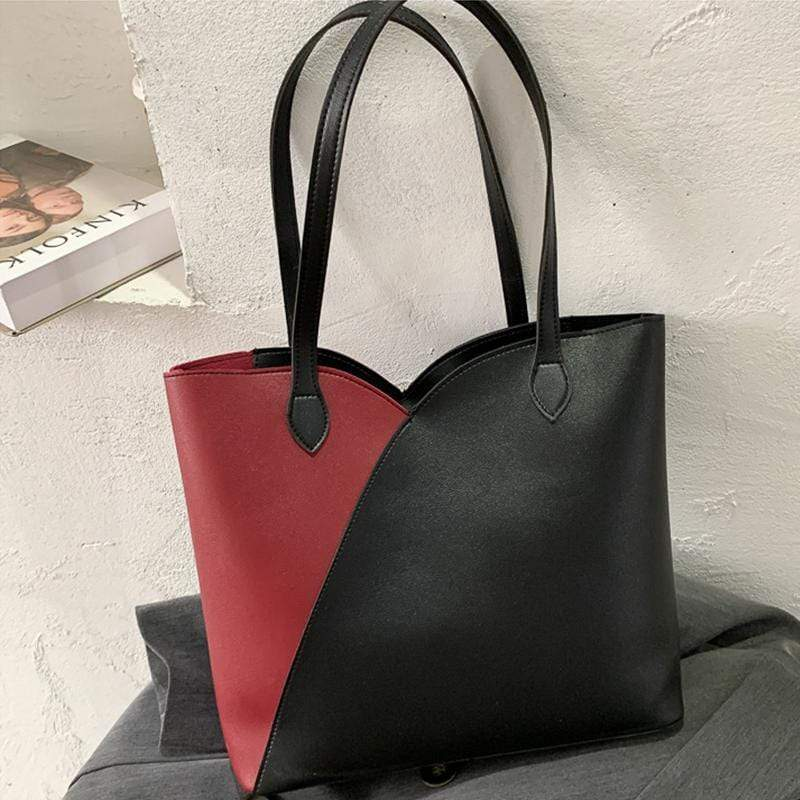 Obangbag Black Women Simple Casual Roomy Lightweight Leather Tote Bag Handbag for Work
