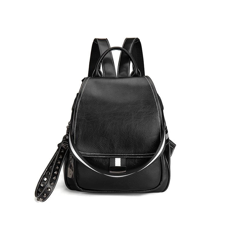 Obangbag Black Women Simple Chic Roomy Multifunction Leather Backpack Bookbag for Work for School