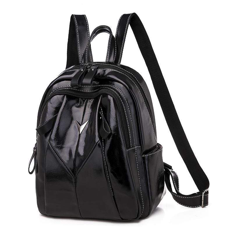 Obangbag Black Women Simple Daily Large Capacity Multifunction Leather Backpack Bookbag